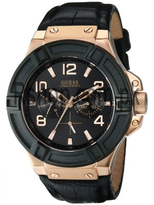 Guess Men's U0040G5 Rigor Multi Function Standout Sport Black & Rose Gold Tone Watch Price in Pakistan