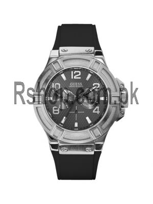 Guess Men's U0247G4 Rigor Multi-Function Sport Silcone Black Tone Watch Price in Pakistan