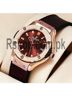 Hublot Classic Fusion Brown Dial Diamond Bezel Watch Price in Pakistan