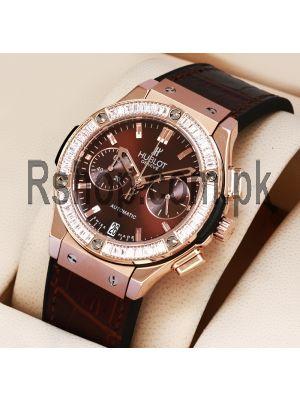Hublot Classic Fusion Brown Dial Brown Strap Diamonds Watch Price in Pakistan