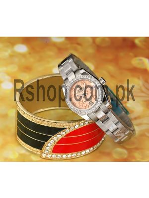 Rolex Datejust Flower Dial Diamonds Bezel Watch Price in Pakistan